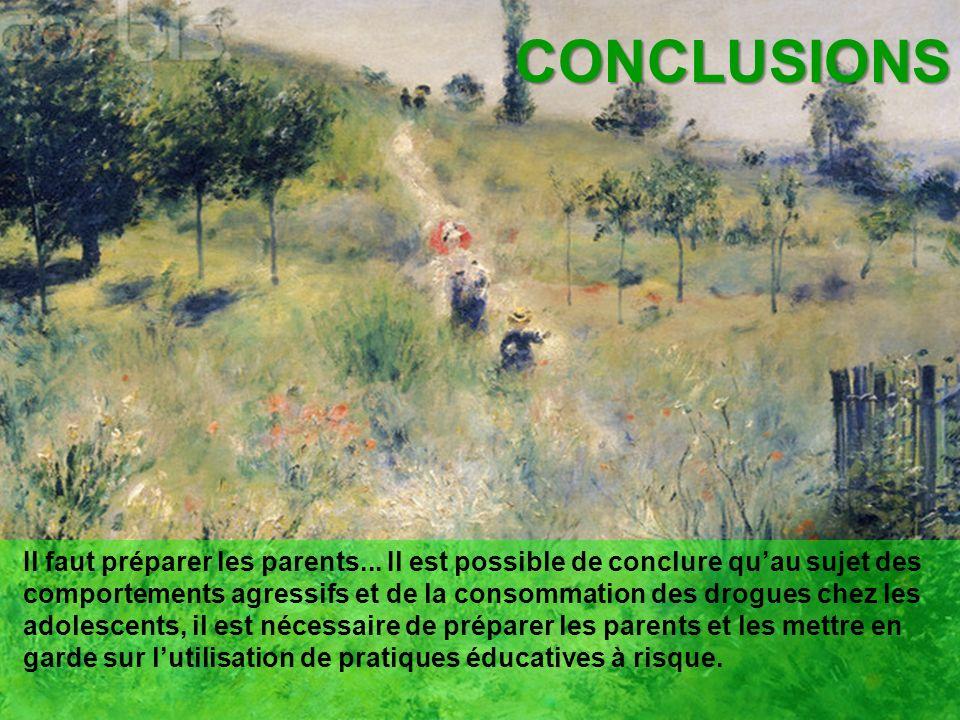 CONCLUSIONS Il faut préparer les parents... Il est possible de conclure quau sujet des comportements agressifs et de la consommation des drogues chez