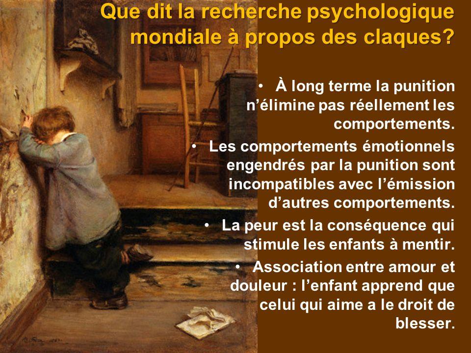 Que dit la recherche psychologique mondiale à propos des claques? À long terme la punition nélimine pas réellement les comportements. Les comportement