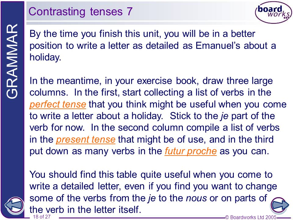 © Boardworks Ltd 2005 18 of 27 GRAMMAR By the time you finish this unit, you will be in a better position to write a letter as detailed as Emanuels ab