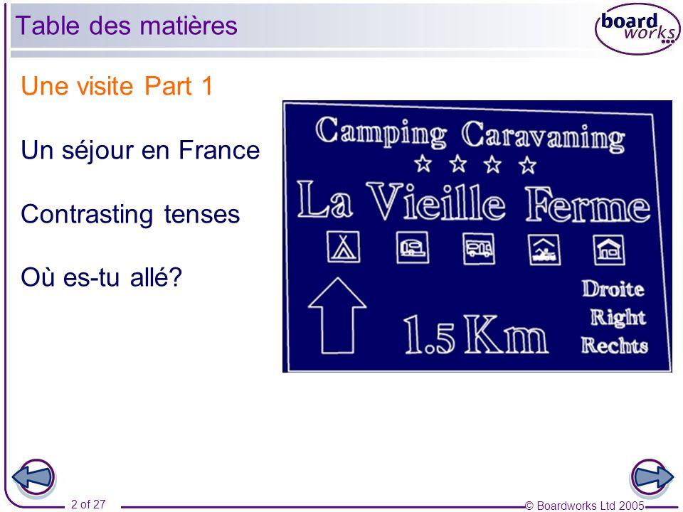 © Boardworks Ltd 2005 2 of 27 Une visite Part 1 Un séjour en France Contrasting tenses Où es-tu allé? Table des matières