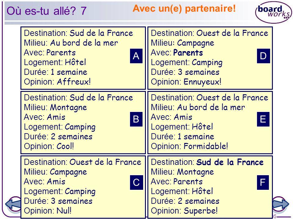 © Boardworks Ltd 2005 25 of 27 Destination: Sud de la France Milieu: Au bord de la mer Avec: Parents Logement: Hôtel Durée: 1 semaine Opinion: Affreux