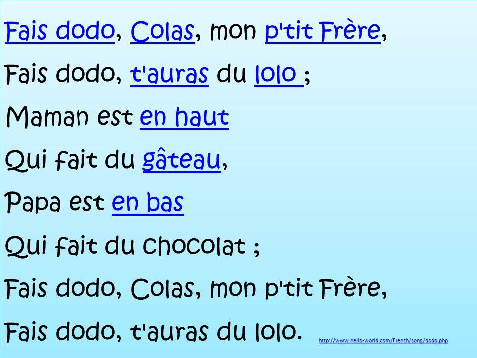 Fais dodoFais dodo, Colas, mon p tit Frère, Fais dodo, t auras du lolo ; Maman est en haut Qui fait du gâteau, Papa est en bas Qui fait du chocolat ; Fais dodo, Colas, mon p tit Frère, Fais dodo, t auras du lolo.Colasp tit Frèret auraslolo en hautgâteauen bas Fais dodoFais dodo, Colas, mon p tit Frère, Fais dodo, t auras du lolo ; Maman est en haut Qui fait du gâteau, Papa est en bas Qui fait du chocolat ; Fais dodo, Colas, mon p tit Frère, Fais dodo, t auras du lolo.Colasp tit Frèret auraslolo en hautgâteauen bas http://www.hello-world.com/French/song/dodo.php