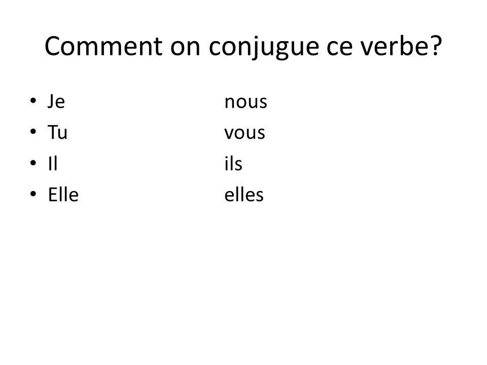 Comment on conjugue ce verbe? Je nous Tu vous Ilils Elleelles