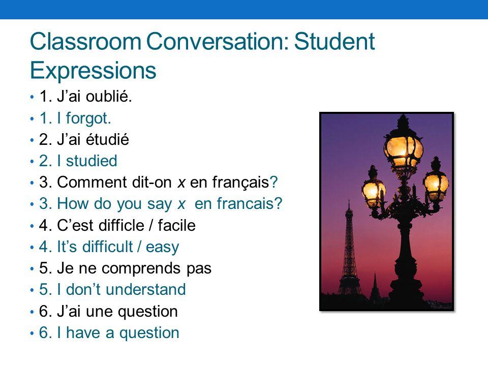 Classroom Conversation: Teacher Expressions 1.Noubliez pas 1.