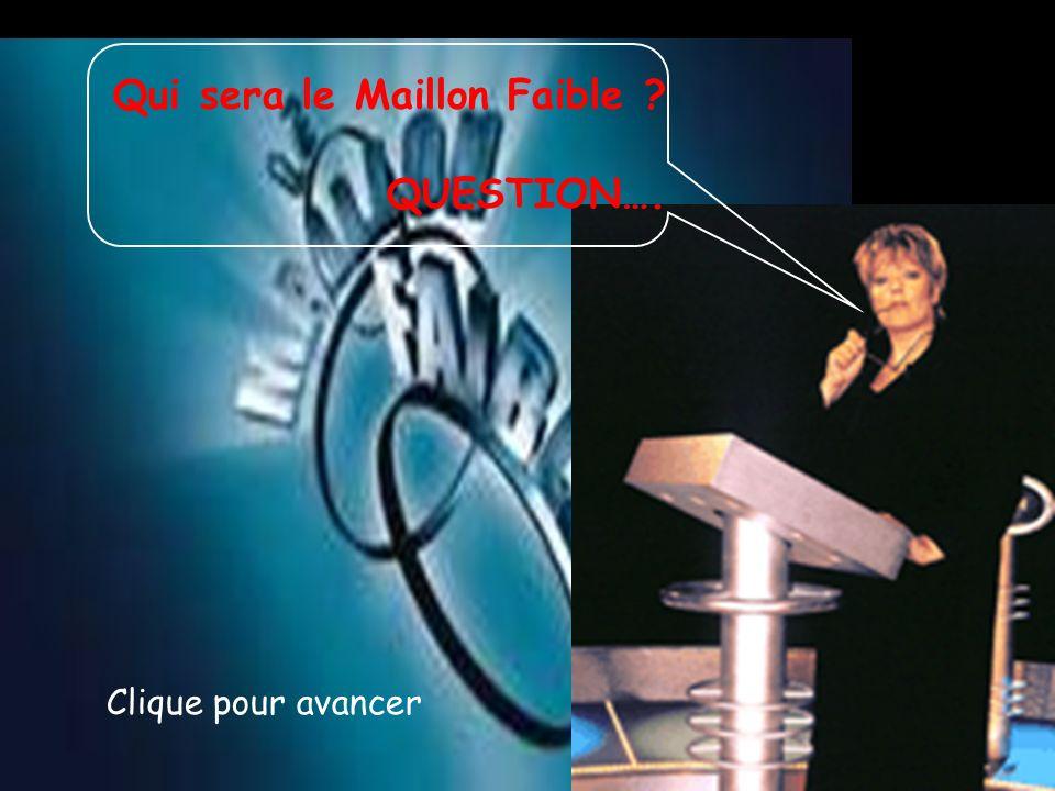 Qui sera le Maillon Faible ? QUESTION…. Clique pour avancer