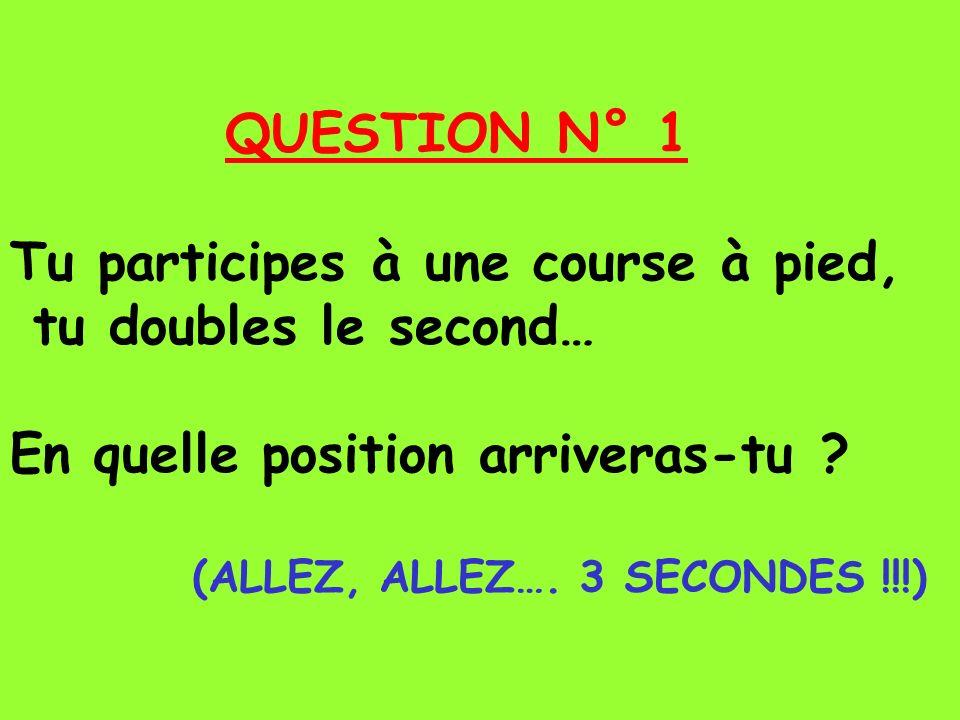 QUESTION N° 1 Tu participes à une course à pied, tu doubles le second… En quelle position arriveras-tu .