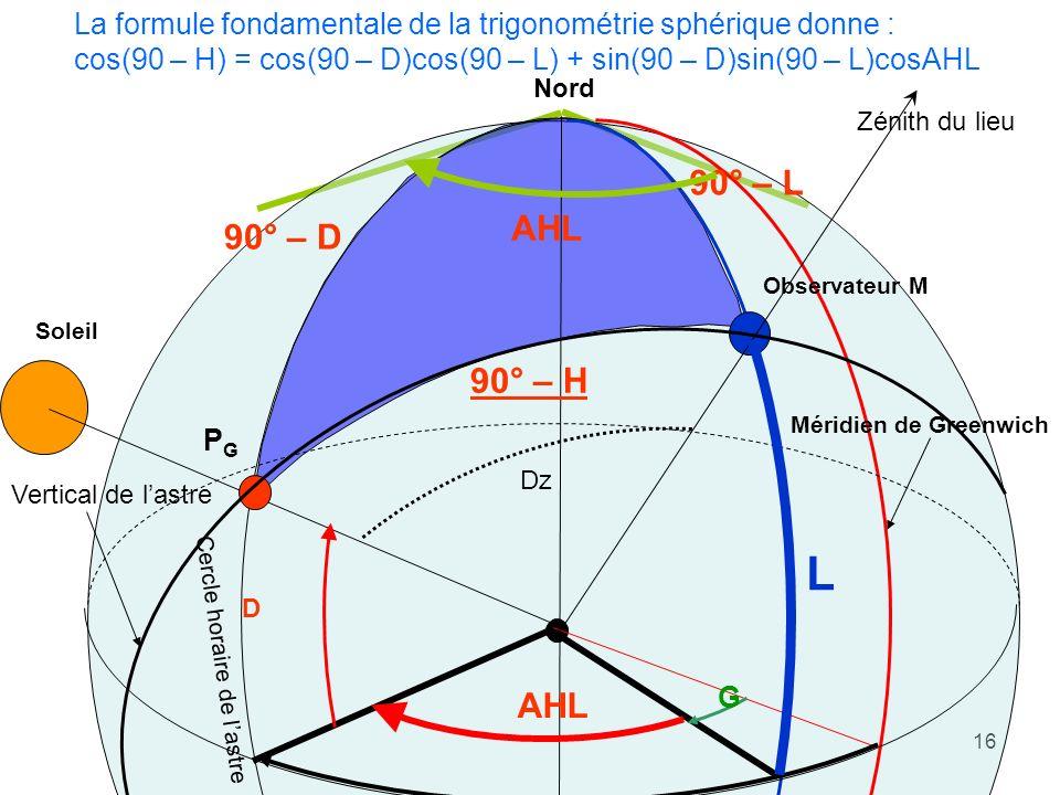 16 Méridien de Greenwich Observateur M Soleil PGPG AHL G AHG Nord Zénith du lieu Vertical de lastre Dz D Cercle horaire de lastre 90° – D 90° – H L 90