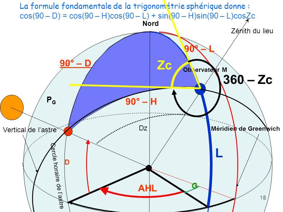 18 Méridien de Greenwich Observateur M Soleil PGPG AHL G AHG Nord Zénith du lieu Vertical de lastre Dz D Cercle horaire de lastre 90° – D 90° – H L 90