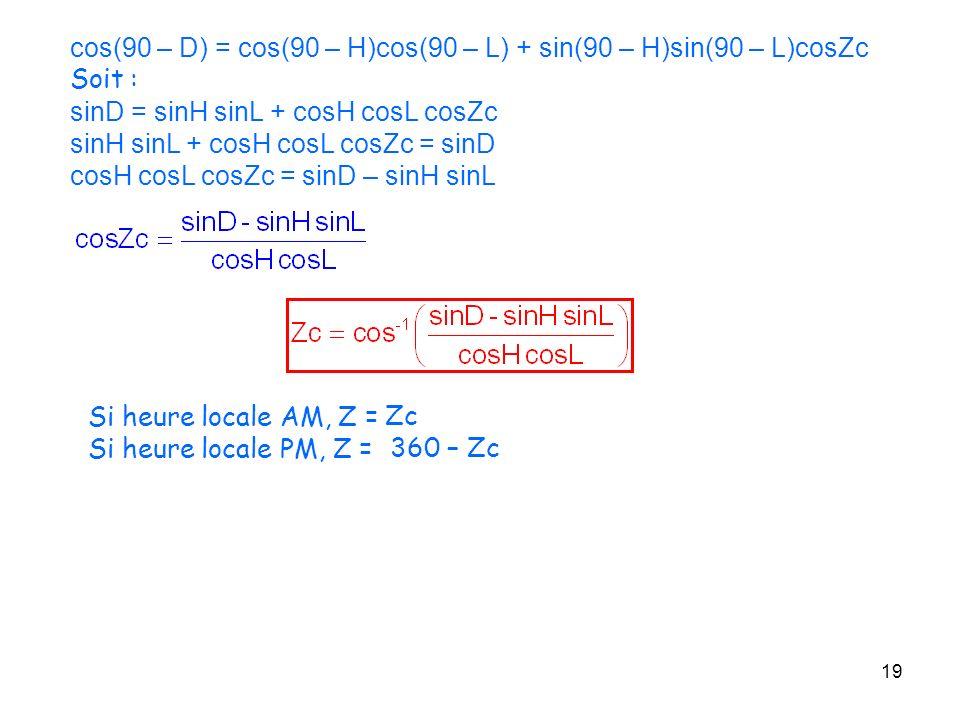 19 cos(90 – D) = cos(90 – H)cos(90 – L) + sin(90 – H)sin(90 – L)cosZc Soit : sinD = sinH sinL + cosH cosL cosZc sinH sinL + cosH cosL cosZc = sinD cos
