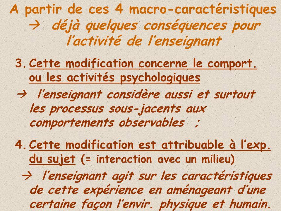 3.Cette modification concerne le comport. ou les activités psychologiques lenseignant considère aussi et surtout les processus sous-jacents aux compor