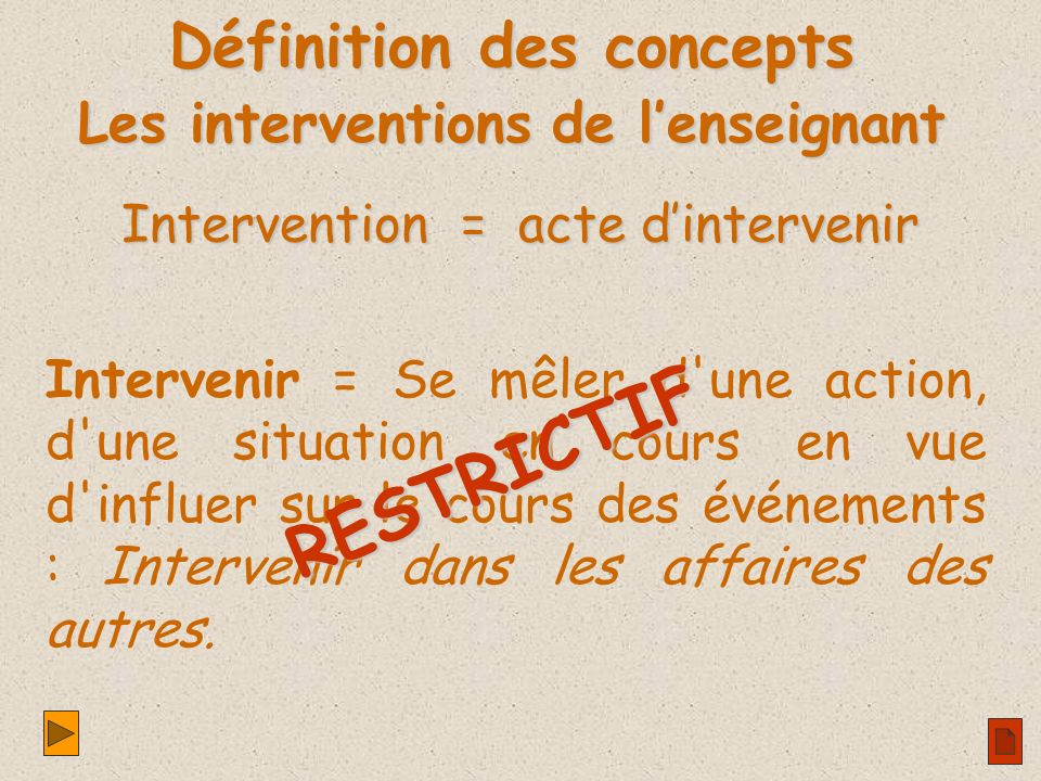 Intervention = acte dintervenir Intervenir = Se mêler d une action, d une situation en cours en vue d influer sur le cours des événements : Intervenir dans les affaires des autres.
