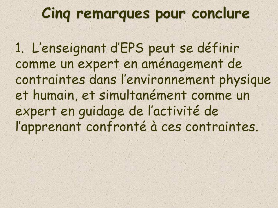 Cinq remarques pour conclure 1.Lenseignant dEPS peut se définir comme un expert en aménagement de contraintes dans lenvironnement physique et humain,