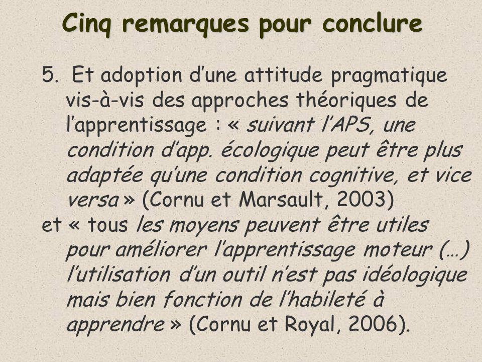 Cinq remarques pour conclure 5. Et adoption dune attitude pragmatique vis-à-vis des approches théoriques de lapprentissage : « suivant lAPS, une condi