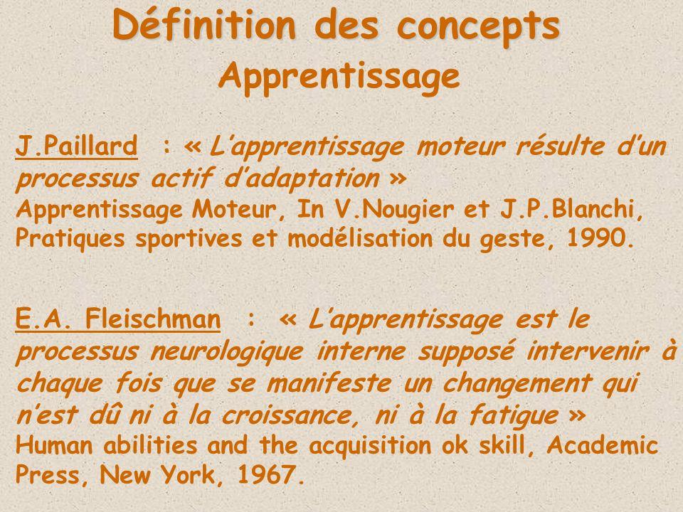 Définition des concepts J.Paillard : « Lapprentissage moteur résulte dun processus actif dadaptation » Apprentissage Moteur, In V.Nougier et J.P.Blanchi, Pratiques sportives et modélisation du geste, 1990.
