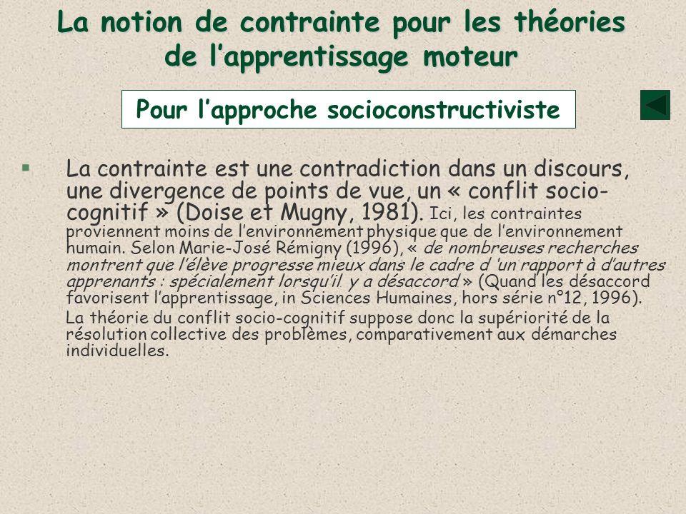 La notion de contrainte pour les théories de lapprentissage moteur §La contrainte est une contradiction dans un discours, une divergence de points de