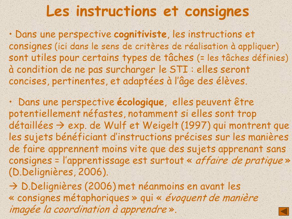 Les instructions et consignes Dans une perspective cognitiviste, les instructions et consignes (ici dans le sens de critères de réalisation à applique