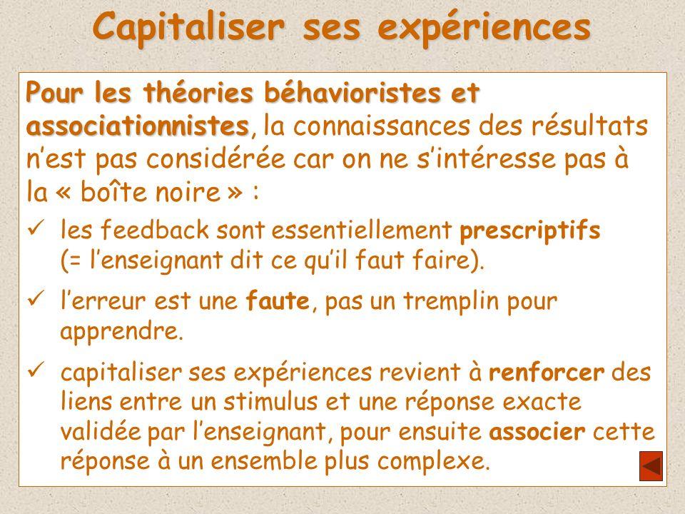 Capitaliser ses expériences Pour les théories béhavioristes et associationnistes associationnistes, la connaissances des résultats nest pas considérée car on ne sintéresse pas à la « boîte noire » : les feedback sont essentiellement prescriptifs (= lenseignant dit ce quil faut faire).