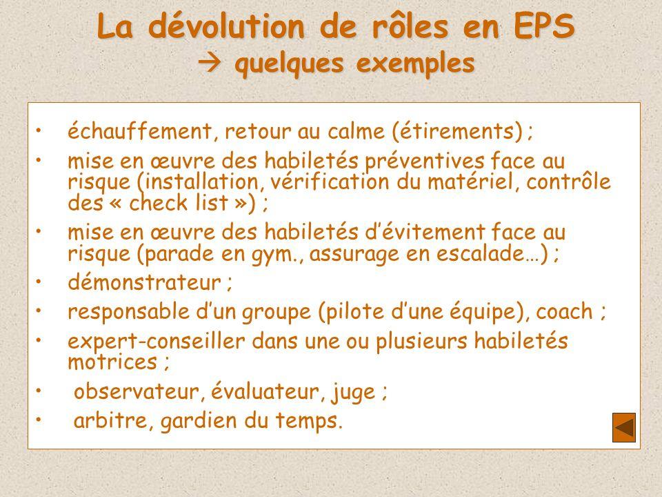 La dévolution de rôles en EPS quelques exemples quelques exemples échauffement, retour au calme (étirements) ; mise en œuvre des habiletés préventives