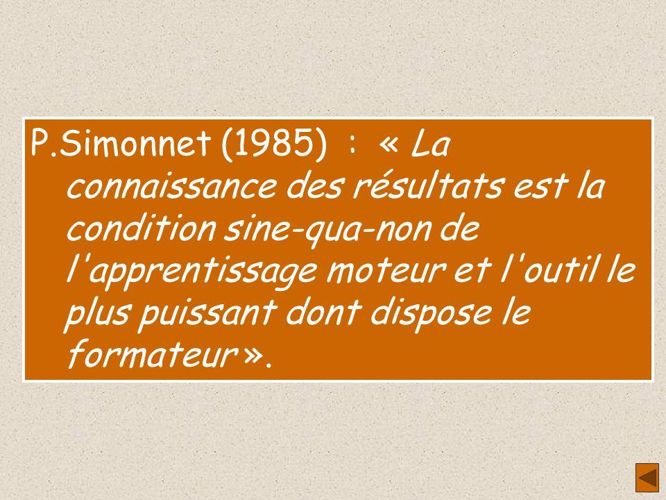 J.Adams (1971) : « L'apprentissage humain du mouvement est basé sur la connaissance des résultats ou information sur l'erreur de réponse ». P.Simonnet
