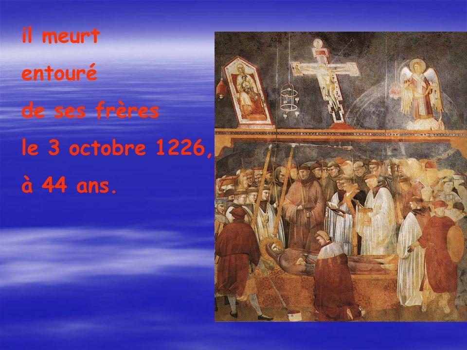 il meurt entouré de ses frères le 3 octobre 1226, à 44 ans.