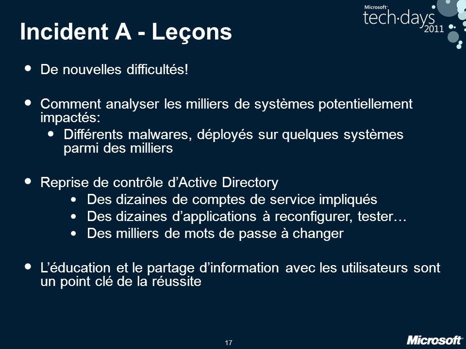 17 Incident A - Leçons De nouvelles difficultés.