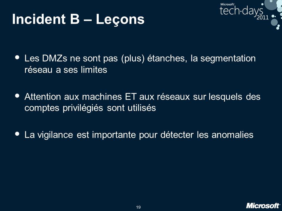 19 Incident B – Leçons Les DMZs ne sont pas (plus) étanches, la segmentation réseau a ses limites Attention aux machines ET aux réseaux sur lesquels des comptes privilégiés sont utilisés La vigilance est importante pour détecter les anomalies