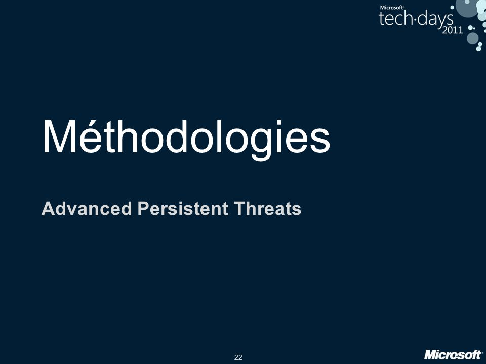 22 Méthodologies Advanced Persistent Threats