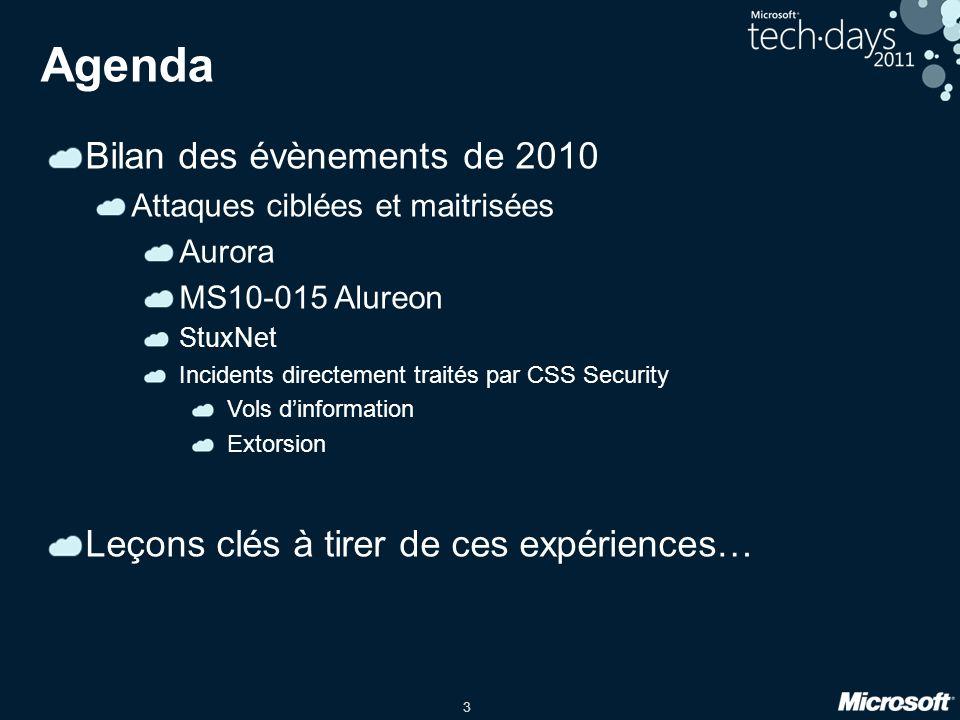 3 Agenda Bilan des évènements de 2010 Attaques ciblées et maitrisées Aurora MS10-015 Alureon StuxNet Incidents directement traités par CSS Security Vols dinformation Extorsion Leçons clés à tirer de ces expériences…