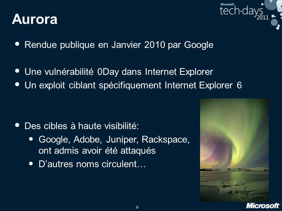 9 Aurora Rendue publique en Janvier 2010 par Google Une vulnérabilité 0Day dans Internet Explorer Un exploit ciblant spécifiquement Internet Explorer 6 Des cibles à haute visibilité: Google, Adobe, Juniper, Rackspace, ont admis avoir été attaqués Dautres noms circulent…