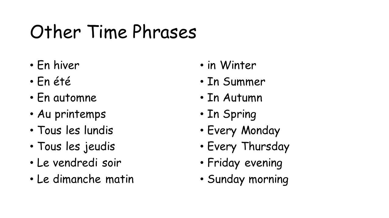 Other Time Phrases En hiver En été En automne Au printemps Tous les lundis Tous les jeudis Le vendredi soir Le dimanche matin in Winter In Summer In A