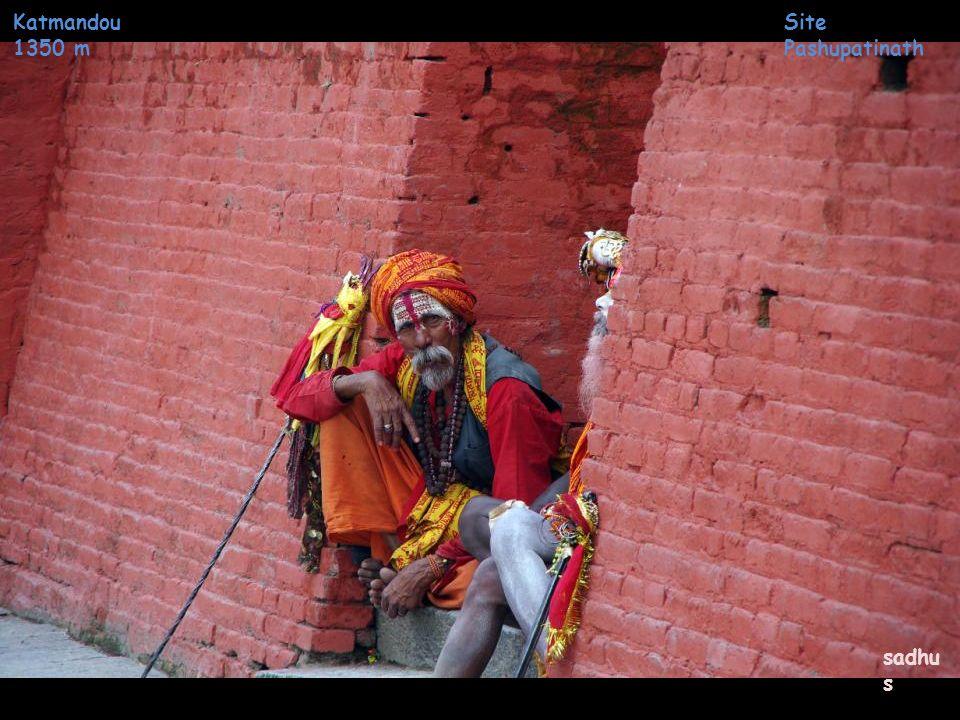 Katmandou 1350 m Site Pashupatinath entretien du bûcher crématio n