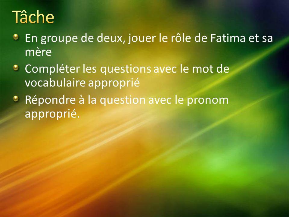 En groupe de deux, jouer le rôle de Fatima et sa mère Compléter les questions avec le mot de vocabulaire approprié Répondre à la question avec le pronom approprié.