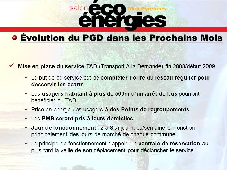 Évolution du PGD dans les Prochains Mois Mise en place du service TAD (Transport A la Demande) fin 2008/début 2009 Le but de ce service est de complét