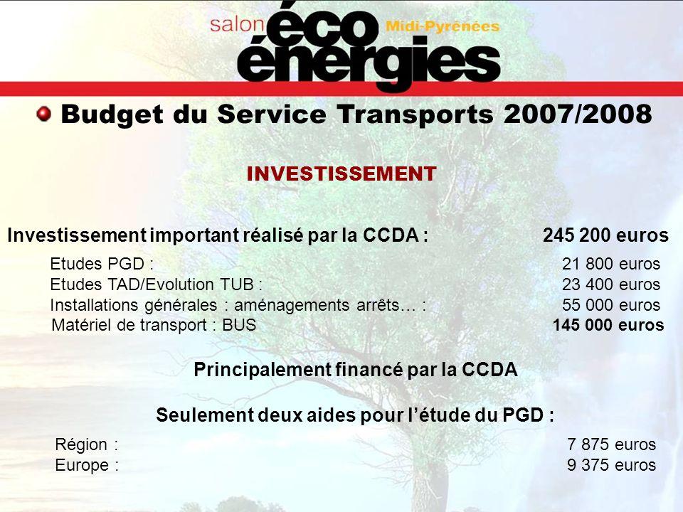 Investissement important réalisé par la CCDA : 245 200 euros Etudes PGD : 21 800 euros Etudes TAD/Evolution TUB : 23 400 euros Installations générales