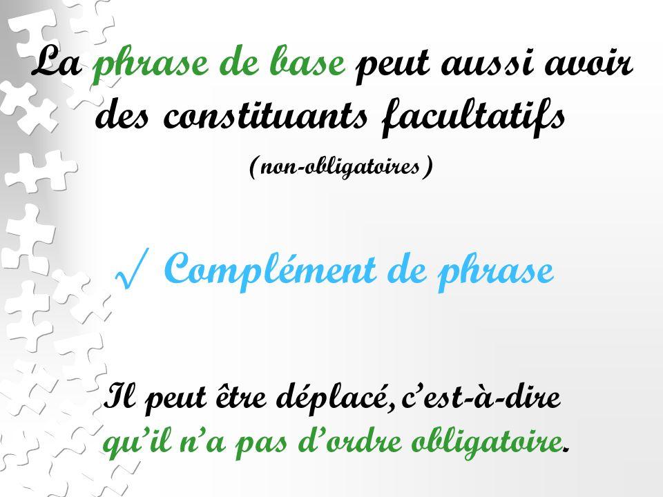 La phrase de base peut aussi avoir des constituants facultatifs (non-obligatoires) Complément de phrase Il peut être déplacé, cest-à-dire quil na pas dordre obligatoire.