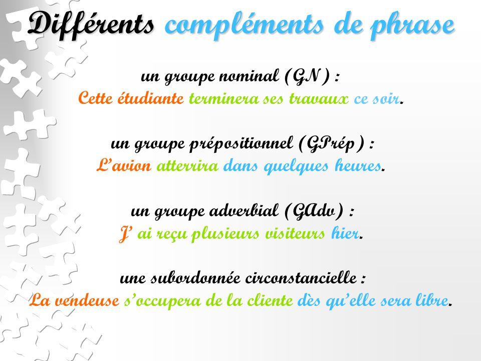 Différents compléments de phrase un groupe nominal (GN) : Cette étudiante terminera ses travaux ce soir.