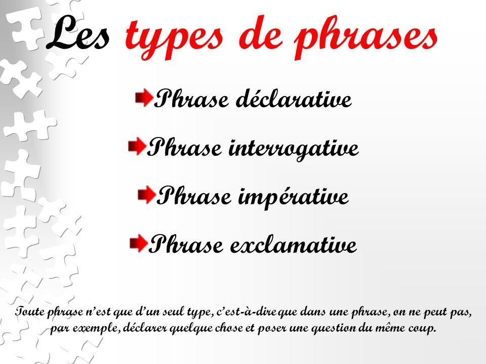 Les types de phrases Phrase déclarative Phrase interrogative Phrase impérative Phrase exclamative Toute phrase nest que dun seul type, cest-à-dire que dans une phrase, on ne peut pas, par exemple, déclarer quelque chose et poser une question du même coup.