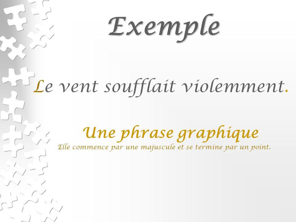Exemple Exemple Le vent soufflait violemment.