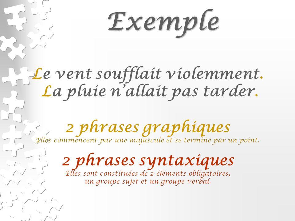 Exercices Composer 3 phrases et inscrire, comme dans les exemples précédents, si elles sont graphiques et/ou syntaxiques.