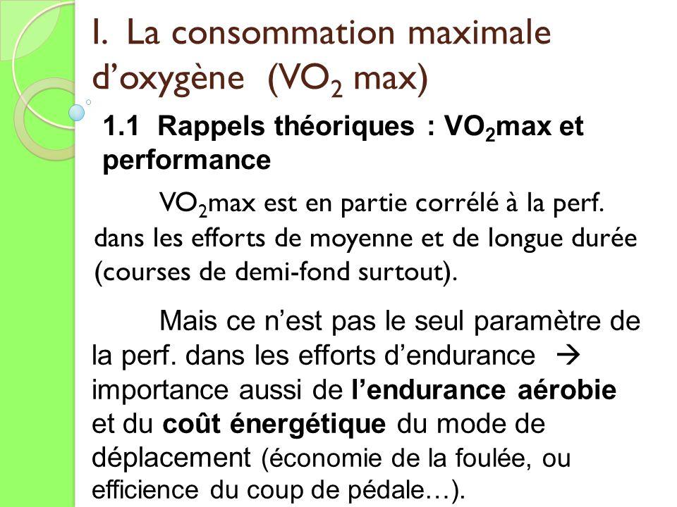I. La consommation maximale doxygène (VO 2 max) VO 2 max est en partie corrélé à la perf. dans les efforts de moyenne et de longue durée (courses de d
