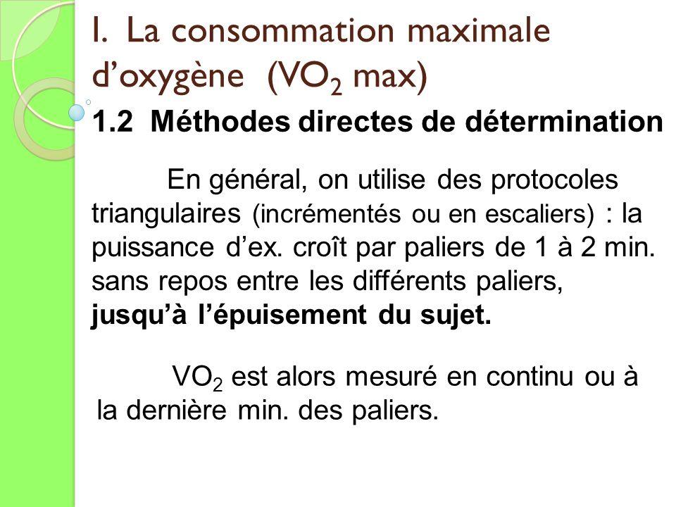 I. La consommation maximale doxygène (VO 2 max) 1.2 Méthodes directes de détermination VO 2 est alors mesuré en continu ou à la dernière min. des pali