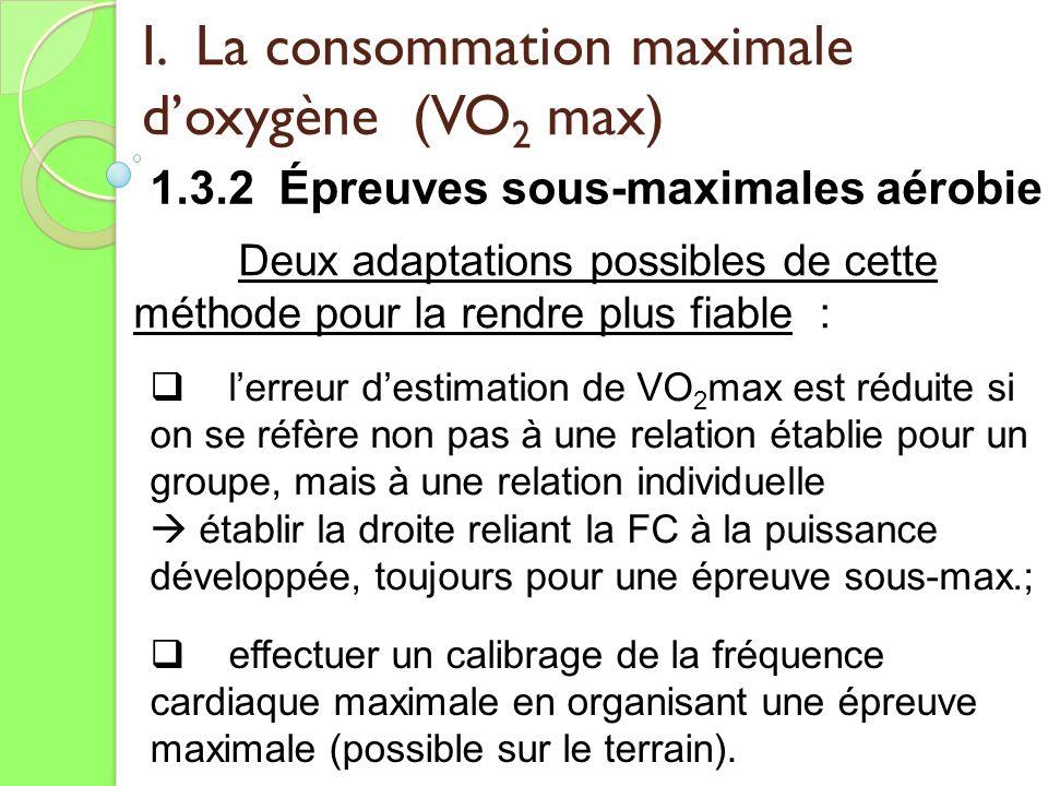 I. La consommation maximale doxygène (VO 2 max) 1.3.2 Épreuves sous-maximales aérobie Deux adaptations possibles de cette méthode pour la rendre plus