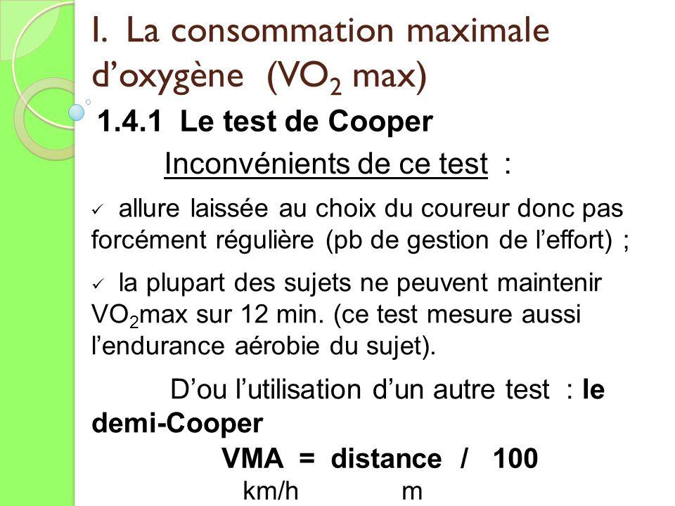 I. La consommation maximale doxygène (VO 2 max) 1.4.1 Le test de Cooper VMA = distance / 100 km/h m Inconvénients de ce test : allure laissée au choix