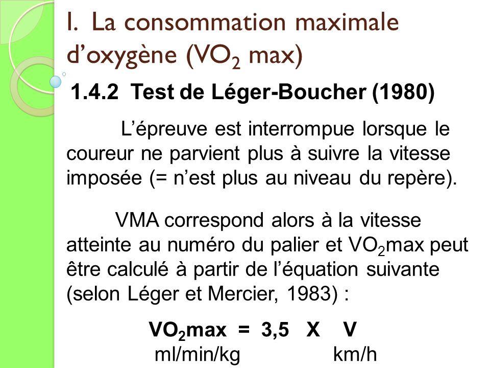 I. La consommation maximale doxygène (VO 2 max) 1.4.2 Test de Léger-Boucher (1980) VMA correspond alors à la vitesse atteinte au numéro du palier et V