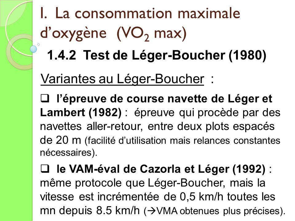 I. La consommation maximale doxygène (VO 2 max) 1.4.2 Test de Léger-Boucher (1980) Variantes au Léger-Boucher : lépreuve de course navette de Léger et