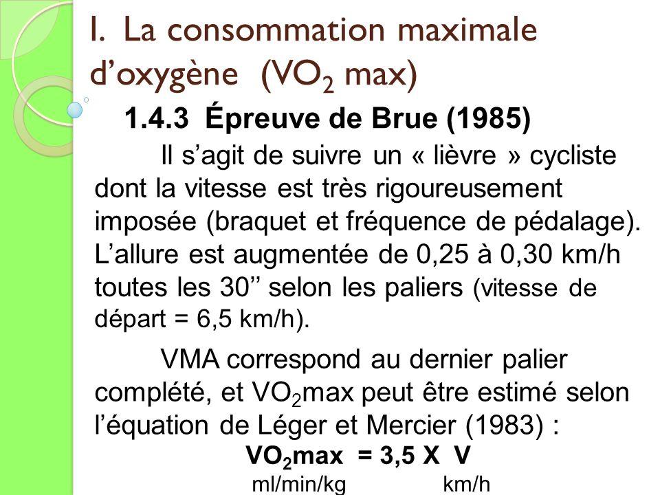 I. La consommation maximale doxygène (VO 2 max) 1.4.3 Épreuve de Brue (1985) Il sagit de suivre un « lièvre » cycliste dont la vitesse est très rigour