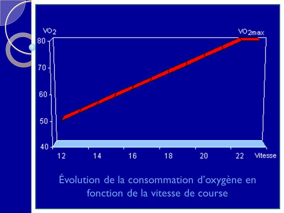 Évolution de la consommation doxygène en fonction de la vitesse de course