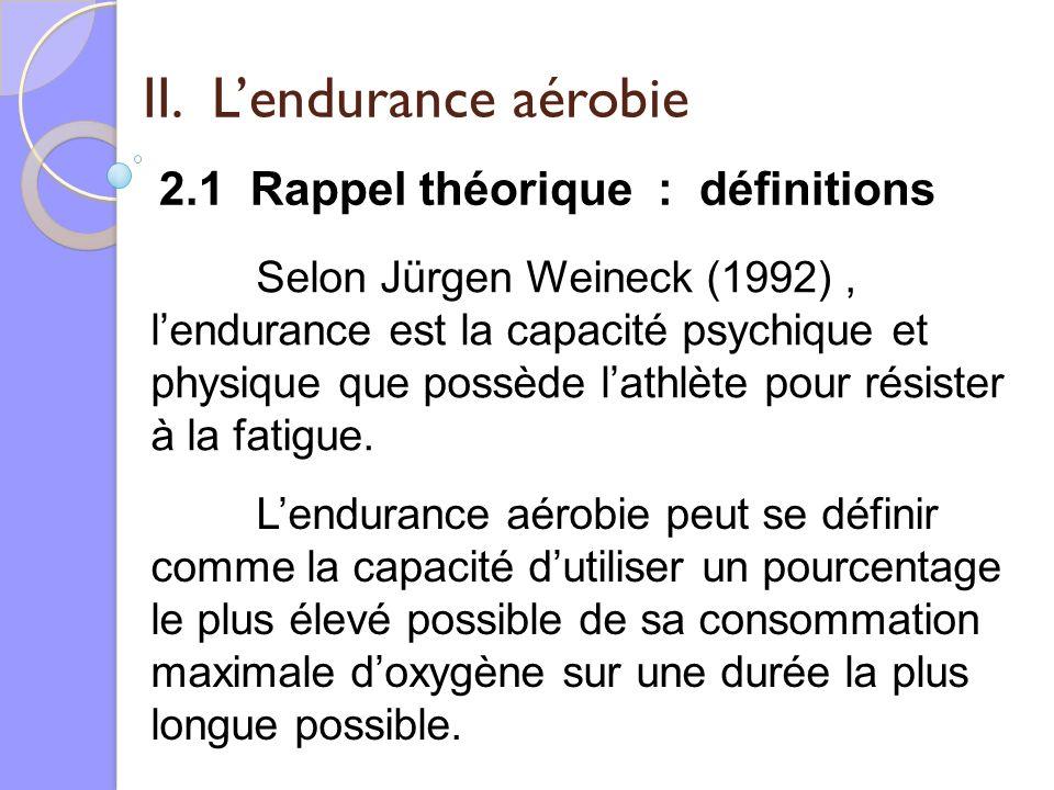 II. Lendurance aérobie 2.1 Rappel théorique : définitions Selon Jürgen Weineck (1992), lendurance est la capacité psychique et physique que possède la