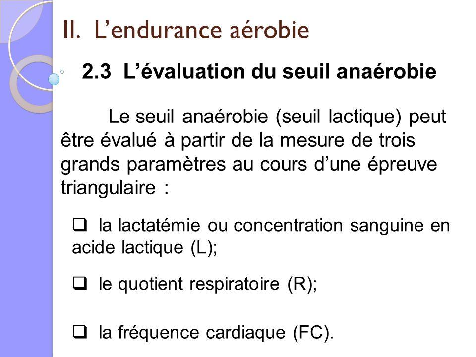 II. Lendurance aérobie 2.3 Lévaluation du seuil anaérobie Le seuil anaérobie (seuil lactique) peut être évalué à partir de la mesure de trois grands p