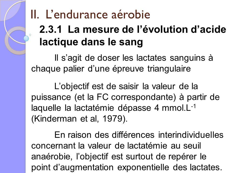 II. Lendurance aérobie 2.3.1 La mesure de lévolution dacide lactique dans le sang Il sagit de doser les lactates sanguins à chaque palier dune épreuve
